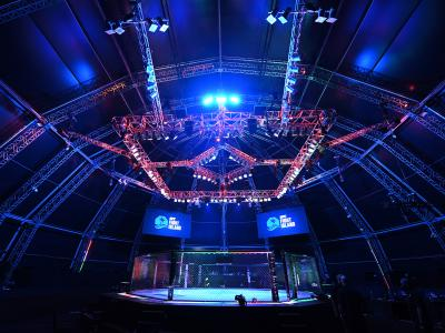 A general view of the Octagon during the UFC Fight Night event inside Flash Forum on UFC Fight Island on October 04, 2020 in Abu Dhabi, United Arab Emirates. (Photo by Josh Hedges/Zuffa LLC)
