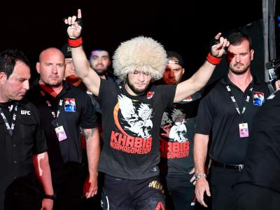ABU DHABI, UNITED ARAB EMIRATES - SEPTEMBER 07: Khabib Nurmagomedov of Russia walks to the Octagon prior to his lightweight championship bout against Dustin Poirier