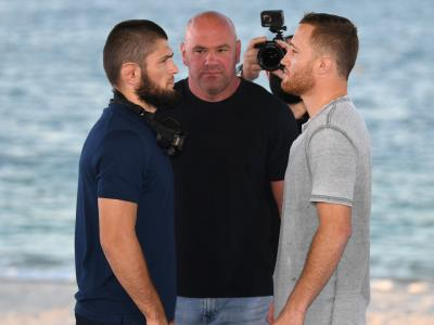 ABU DHABI, UNITED ARAB EMIRATES - OCTOBER 21: (L-R) Opponents Khabib Nurmagomedov of Russia and Justin Gaethje face off during the UFC 254
