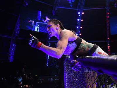 ABU DHABI, UNITED ARAB EMIRATES - OCTOBER 24: Lauren Murphy celebrates her victory over Liliya Shakirova of Uzbekistan in their women's flyweight bout