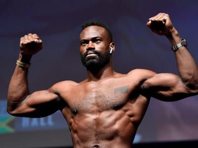 Uriah Hall poses on the scale during the UFC Fight Night weigh-in at Rogers Arena on September 13, 2019 in Vancouver, British Columbia, Canada. (Photo by Jeff Bottari/Zuffa LLC)