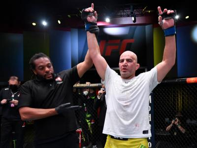 LAS VEGAS, NEVADA - NOVEMBER 07: Glover Teixeira of Brazil reacts after his victory over Thiago Santos of Brazil in a light heavyweight fight during the UFC Fight Night