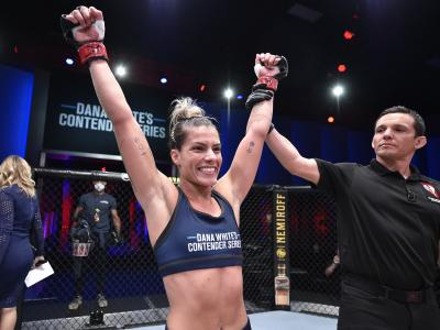 Luana Pinheiro celebrates after her knockout victory over Stephanie Frausto in their strawweight fight during Dana White's Contender Series season four