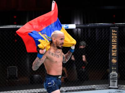 LAS VEGAS, NEVADA - AUGUST 15: Marlon Vera of Ecuador reacts after his TKO victory over Sean O'Malley in their bantamweight bout during the UFC 252