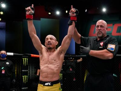 LAS VEGAS, NEVADA - DECEMBER 19: Jose Aldo of Brazil reacts after his victory over Marlon Vera of Ecuador in a bantamweight fight during the UFC Fight Night event at UFC APEX