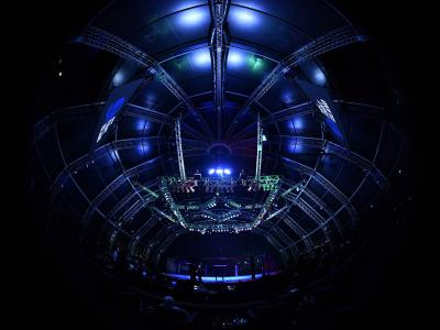 A general view of the Octagon during the UFC Fight Night event inside Flash Forum on UFC Fight Island on July 19, 2020 in Yas Island, Abu Dhabi, United Arab Emirates. (Photo by Jeff Bottari/Zuffa LLC)