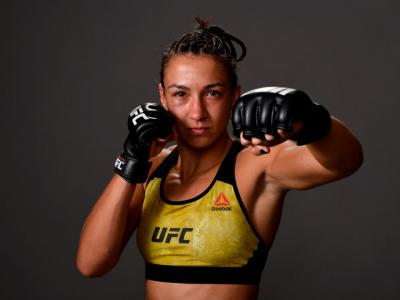 MINNEAPOLIS, MN - JUNE 29: Amanda Ribas of Brazil poses for a post fight portrait backstage during the UFC Fight Night
