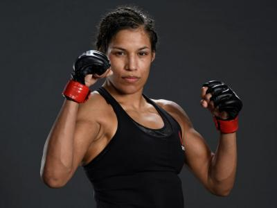 ABU DHABI, UNITED ARAB EMIRATES - JANUARY 23: Julianna Pena poses for a portrait after her victory during the UFC 257