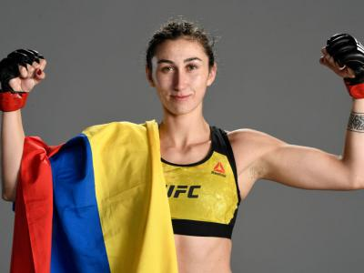 LAS VEGAS, NEVADA - SEPTEMBER 12: Sabina Mazo of Colombia poses for a portrait after her victory during the UFC Fight Night event