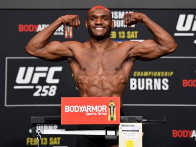 LAS VEGAS, NEVADA - FEBRUARY 12: Kamaru Usman of Nigeria poses on the scale during the UFC weigh-in at UFC APEX