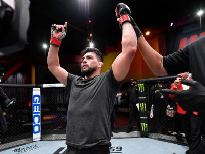 LAS VEGAS, NEVADA - FEBRUARY 13: Kelvin Gastelum reacts after his victory over Ian Heinisch in their middleweight fight