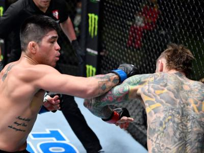 LAS VEGAS, NEVADA - FEBRUARY 20: (L-R) John Castaneda punches Eddie Wineland in a bantamweight bout during the UFC Fight Night