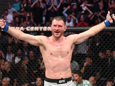 Stipe Miocic celebrates his TKO victory over Daniel Cormier in their heavyweight championship bout during the UFC 241 event at the Honda Center on August 17, 2019 in Anaheim, California. (Photo by Josh Hedges/Zuffa LLC/Zuffa LLC via Getty Images)