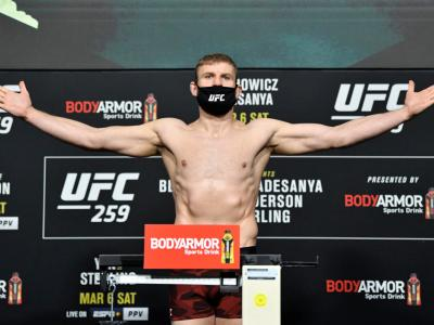 LAS VEGAS, NEVADA - MARCH 05: Jan Blachowicz of Poland poses on the scale during the UFC 259 weigh-in