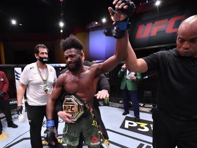 LAS VEGAS, NEVADA - MARCH 06: Aljamain Sterling reacts after his victory by disqualification over Petr Yan of Russia due to an intentional foul in their UFC bantamweight championship fight during the UFC 259