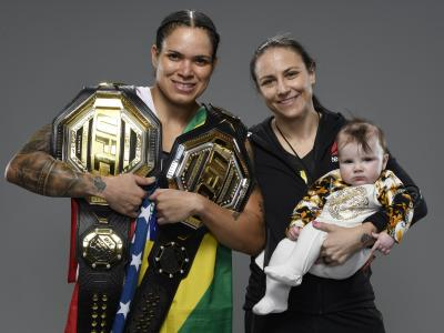 LAS VEGAS, NEVADA - MARCH 06: Amanda Nunes of Brazil poses for a portrait after her victory during the UFC 259