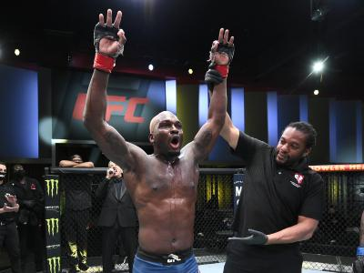 LAS VEGAS, NEVADA - MARCH 20: Derek Brunson reacts after his unanimous-decision victory over Kevin Holland in their middleweight fight during the UFC Fight Night