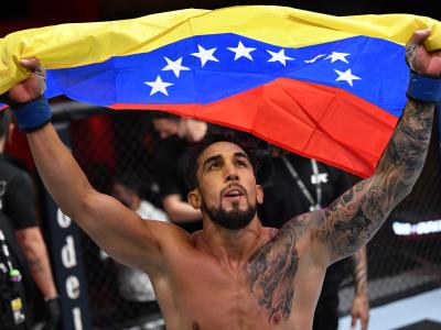 LAS VEGAS, NEVADA - MARCH 27: Omar Morales of Venezuela reacts after the conclusion of his featherweight fight against Shane Young of New Zealand during the UFC 260