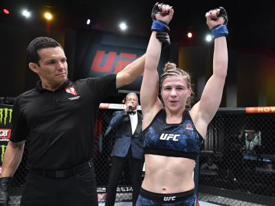 LAS VEGAS, NEVADA - MARCH 27: Miranda Maverick reacts after her victory over Gillian Robertson in their lightweight fight during the UFC 260
