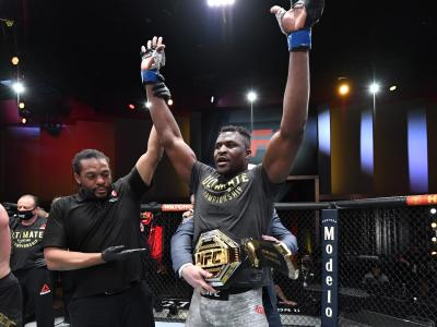 LAS VEGAS, NEVADA - MARCH 27: Francis Ngannou of Cameroon reacts after his victory over Stipe Miocic in their UFC heavyweight championship fight during the UFC 260