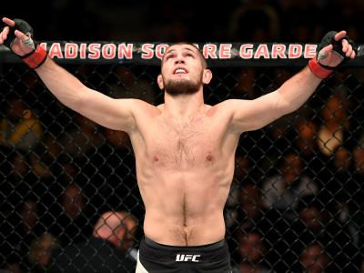 NEW YORK, NY - NOVEMBER 12: Khabib Nurmagomedov of Russia celebrates his KO victory over Michael Johnson of the United States (not pictured) in their lightweight bout during the UFC 205