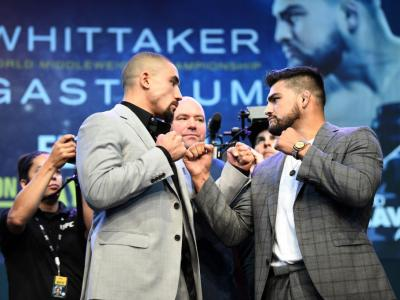 MELBOURNE, AUSTRALIA - FEBRUARY 8: (L-R) UFC middleweight champion Robert Whittaker of Australia and Kelvin Gastelum of the United States face off during the UFC 234