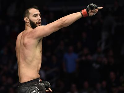 BOSTON, MASSACHUSETTS - OCTOBER 18: Dominick Reyes celebrates after his TKO victory over Chris Weidman in their light heavyweight bout during the UFC Fight Night