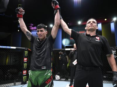 LAS VEGAS, NEVADA - APRIL 10: Luis Saldana reacts after his victory over Jordan Griffin in a featherweight fight during the UFC Fight Night event at UFC APEX