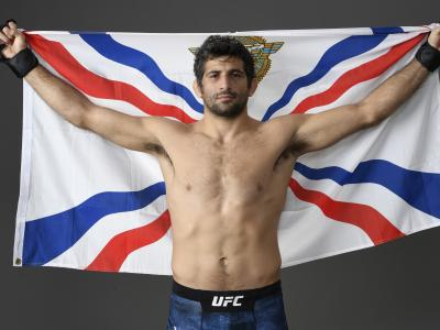 Beneil Dariush poses for a portrait backstage after his victory during the UFC 248 event at T-Mobile Arena