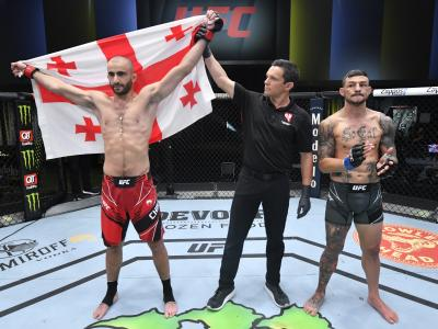 LAS VEGAS, NEVADA - MAY 01: Giga Chikadze of Georgia reacts after his TKO victory over Cub Swanson in a featherweight bout during the UFC Fight Night