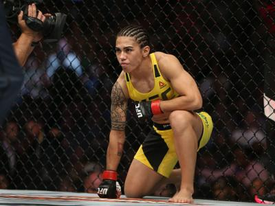 CLEVELAND, OH - SEPTEMBER 10: Jessica Andrade prepares for the round to begin before facing Joanne Calderwood during the UFC 203 event at Quicken Loans Arena on September 10, 2016 in Cleveland, Ohio. (Photo by Rey Del Rio/Getty Images)