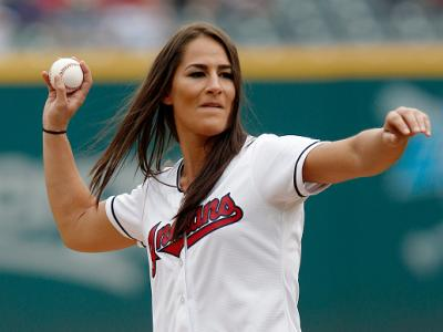 CLEVELAND, OH - SEPTEMBER 08:  UFC fighter Jessica Eye throws out the ceremonial first pitch before the start of the game between the Cleveland Indians and the Houston Astros at Progressive Field on September 8, 2016 in Cleveland, Ohio. (Photo by David Ma