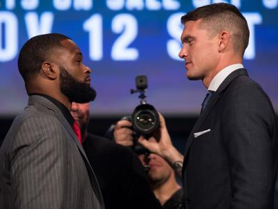 NEW YORK, NY - SEPTEMBER 27: (L-R) UFC welterweight champion Tyron Woodley and Stephen Thompson face-off during the UFC 205 press event at Madison Square Garden on September 27, 2016 in New York City. (Photo by Brandon Magnus/Zuffa LLC/Zuffa LLC via Getty