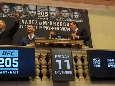 NYSE closing bell ceremony Nov. 11 2016 Bruce Buffer Stipe Miocic Matt Hughes (Photo credit: Nancy Gay)