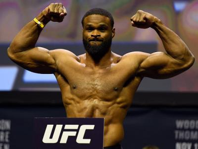 NEW YORK, NY - NOVEMBER 11:  UFC welterweight champion Tyron Woodley steps onto the scale during the UFC 205 weigh-in inside Madison Square Garden on November 11, 2016 in New York City. (Photo by Jeff Bottari/Zuffa LLC/Zuffa LLC via Getty Images)
