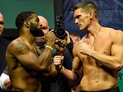NEW YORK, NY - NOVEMBER 11:  (L-R) UFC welterweight champion Tyron Woodley and challenger Stephen Thompson face off during the UFC 205 weigh-in inside Madison Square Garden on November 11, 2016 in New York City. (Photo by Jeff Bottari/Zuffa LLC/Zuffa LLC