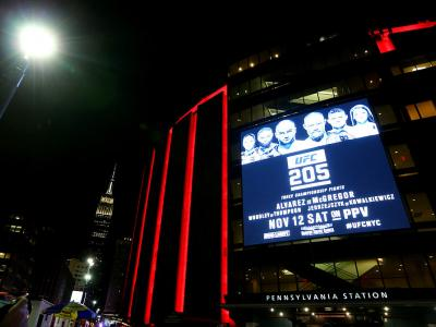 NEW YORK, NY - NOVEMBER 12:  A general view of the exterior of Madison Square Garden is seen during the UFC 205 event at Madison Square Garden on November 12, 2016 in New York City.  (Photo by Ed Mulholland/Zuffa LLC/Zuffa LLC via Getty Images)