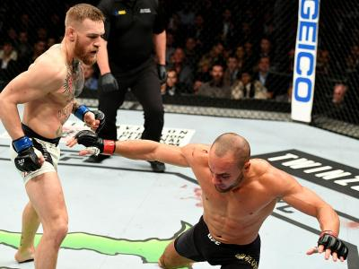 NEW YORK, NY - NOVEMBER 12:  Eddie Alvarez of the United States (right) fights against Conor McGregor of Ireland in their lightweight championship bout during the UFC 205 event at Madison Square Garden on November 12, 2016 in New York City.  (Photo by Jef