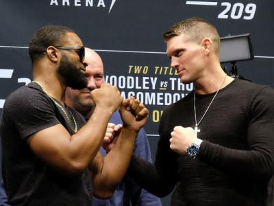 LAS VEGAS, NV - JANUARY 19:  (L-R) UFC Welterweight Champion Tyron Woodley and No. 1 UFC welterweight contender Stephen Thompson face off during the UFC 209 Ultimate Media Day event inside The Park Theater on January 19, 2017 in Las Vegas, Nevada. (Photo