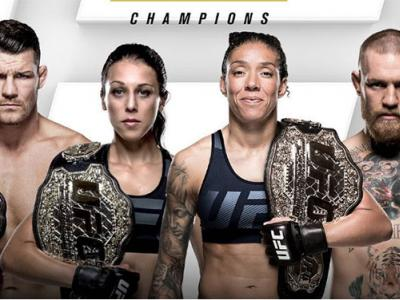 Michael Bisping, Joanna Jedrzejczyk, Conor McGregor and Germaine de Randamie UFC European champions