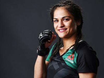 BUFFALO, NY - APRIL 08:  Cynthia Calvillo poses for a portrait backstage after her women's Strawweight victory over Pearl Gonzalezat KeyBank Center on April 8, 2017 in Buffalo, New York.  (Photo by Mike Roach/Zuffa LLC/Zuffa LLC via Getty Images)