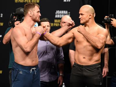DALLAS, TX - MAY 12:  (L-R) UFC heavyweight champion Stipe Miocic and Junior Dos Santos of Brazil face off during the UFC 211 weigh-in at the American Airlines Center on May 12, 2017 in Dallas, Texas. (Photo by Josh Hedges/Zuffa LLC/Zuffa LLC via Getty Im