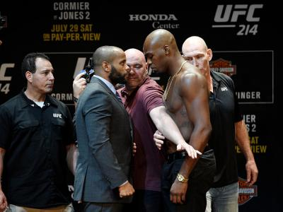 LOS ANGELES, CA - JULY 26: Dana White (C), UFC President, separates the two fighters Daniel Cormier (L) and Jon Jones during the UFC 214- Press Conference July 26, 2017 at The Novo by Microsoft in Los Angeles, California. (Photo by Kevork Djansezian/Zuffa