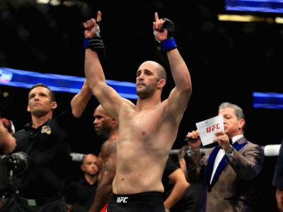 ANAHEIM, CA - JULY 29:  Volkan Oezdemir of Switzerland reacts to defeating Jimmy Manua in their Light Heavyweight  bout at UFC 214 at Honda Center on July 29, 2017 in Anaheim, California.  (Photo by Sean M. Haffey/Getty Images)