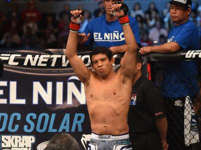 MEXICO CITY, MEXICO - JUNE 13:  Gilbert Melendez of the United States enters the Octagon before facing Eddie Alvarez of the United States in their lightweight bout during the UFC 188 event at the Arena Ciudad de Mexico on June 13, 2015 in Mexico City, Mex
