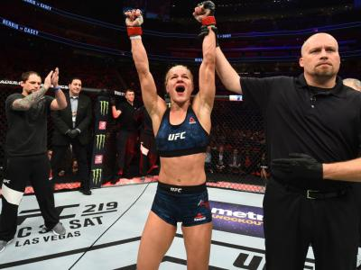 DETROIT, MI - DECEMBER 02:  Felice Herrig celebrates after defeating Cortney Casey in their women's strawweight bout during the UFC 218 event inside Little Caesars Arena on December 02, 2017 in Detroit, Michigan. (Photo by Josh Hedges/Zuffa LLC/Zuffa LLC