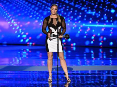 LOS ANGELES, CA - JULY 15:  UFC fighter Ronda Rousey accepts the Best Female Athlete award onstage during The 2015 ESPYS at Microsoft Theater on July 15, 2015 in Los Angeles, California.  (Photo by Kevin Winter/Getty Images)