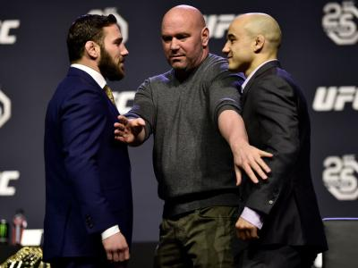 BROOKLYN, NEW YORK - APRIL 06:   (L-R) Opponents Jimmie Rivera and Marlon Moraes face off during the UFC press conference inside Barclays Center on April 6, 2018 in Brooklyn, New York. (Photo by Jeff Bottari/Zuffa LLC/Zuffa LLC via Getty Images)