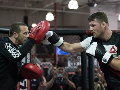 TORRANCE, CA - FEBRUARY 11: Michael Bisping holds an open training session for fans and media at the UFC Gym on February 11, 2016 in Torrance, California. (Photo by Brandon Magnus/Zuffa LLC/Zuffa LLC via Getty Images)