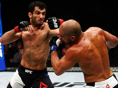LONDON, ENGLAND - FEBRUARY 27: Gegard Mousasi of Netherlands (L) and Thales Leites of Brazil (R) compete in their Middleweight bout during the UFC Fight Night held at at Indigo at The O2 Arena on February 27, 2016 in London, England. (Photo by Dean Mouhta
